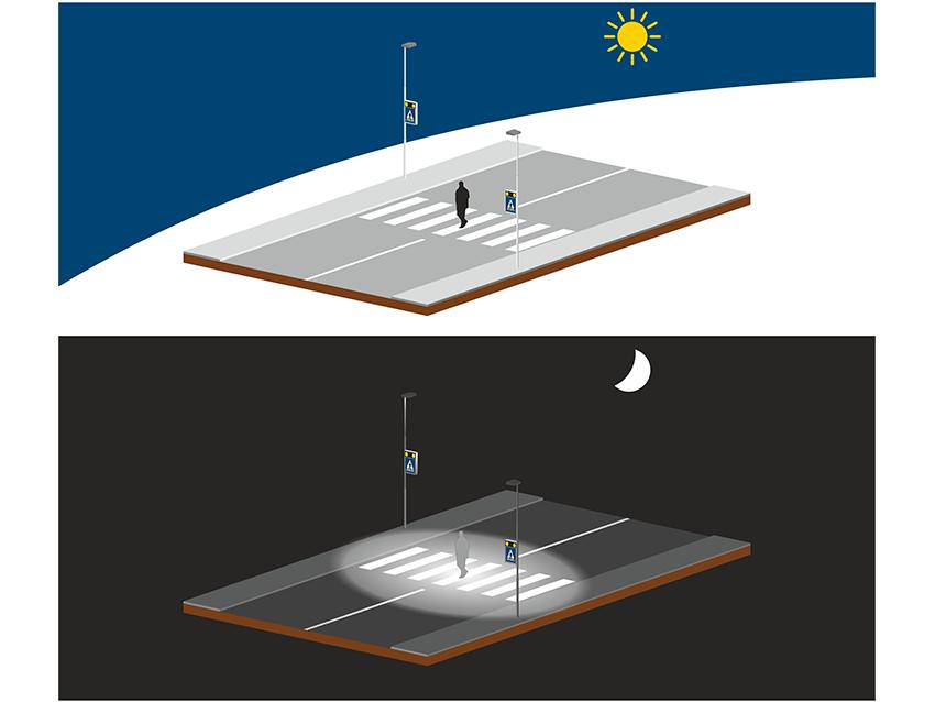 struttura ZEBRA attraversamento pedonale luminoso